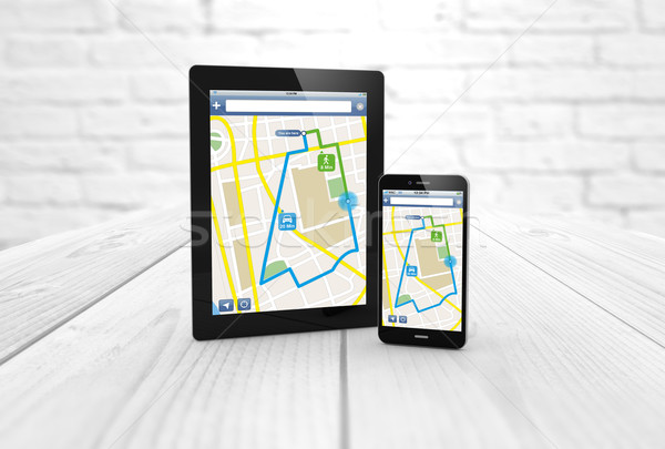 tablet and phone route planner Stock photo © georgejmclittle