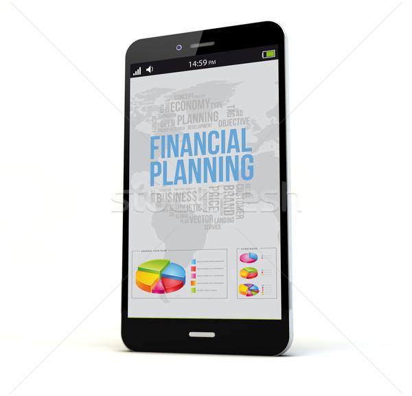 Pénzügyi tervezés telefon render képernyő izolált grafika Stock fotó © georgejmclittle