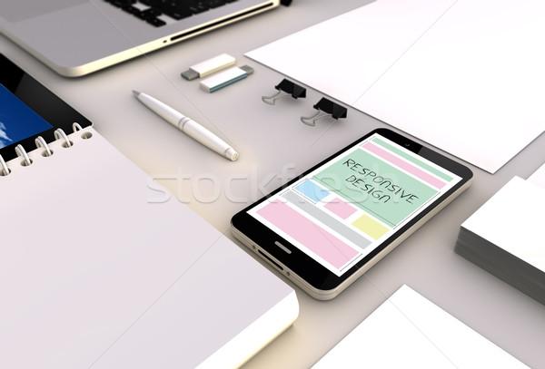 Sensible design smartphone bureau vue Photo stock © georgejmclittle