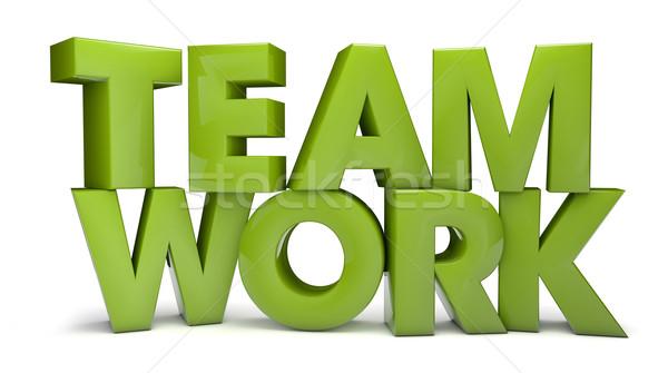 Takım çalışması vermek metin çalışmak arka plan yeşil Stok fotoğraf © georgejmclittle