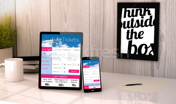 desktop tablet and phone booking tickets flight Stock photo © georgejmclittle