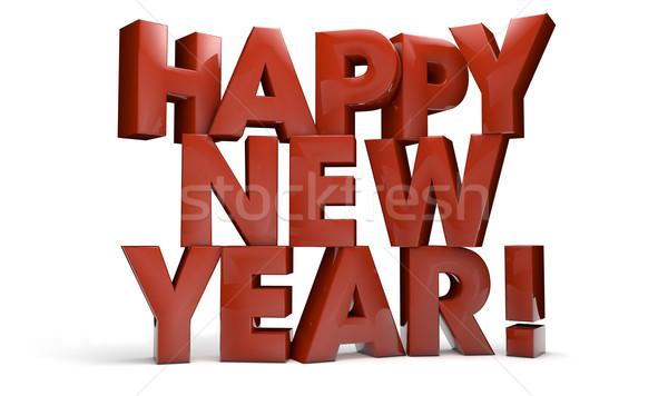 Happy new year rendu 3d texte nouvelle type 3D Photo stock © georgejmclittle