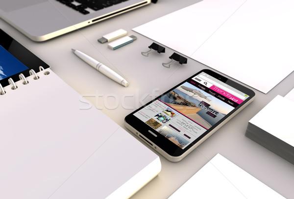 blog smartphone office Stock photo © georgejmclittle