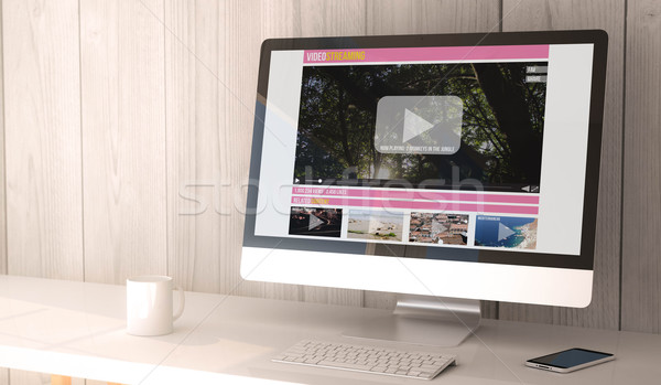 Streaming video digitale geven gegenereerde Stockfoto © georgejmclittle