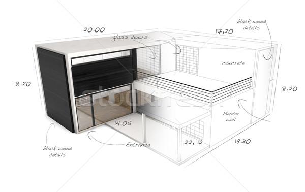 Maison lignes construction techniques détails Photo stock © georgejmclittle