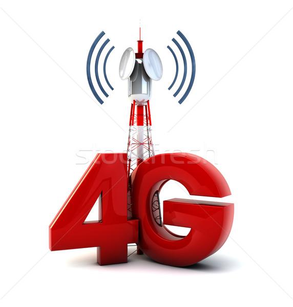 4g torony render távközlés szöveg technológia Stock fotó © georgejmclittle