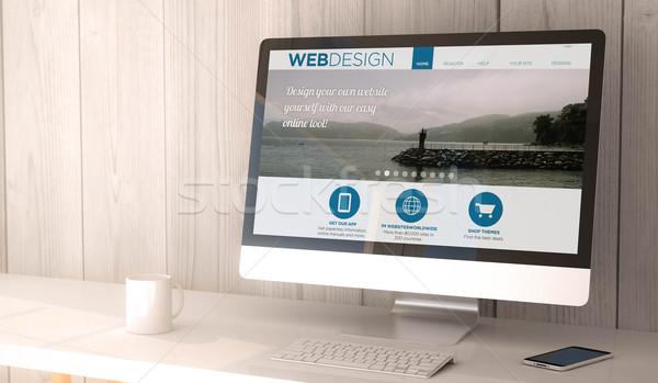 Web tasarım dijital vermek oluşturulan Çalışma alanı Stok fotoğraf © georgejmclittle