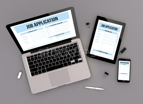 Duyarlı dizayn iş uygulama görmek 3d render Stok fotoğraf © georgejmclittle