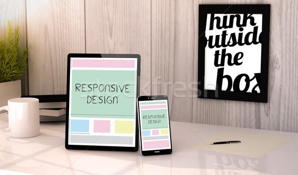 Masaüstü tablet telefon duyarlı dizayn dijital Stok fotoğraf © georgejmclittle