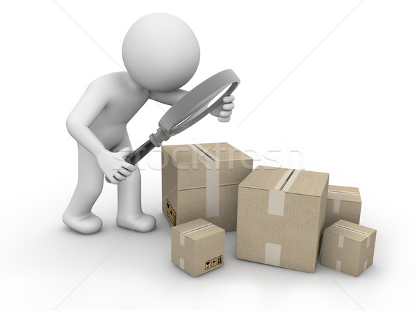 Homme boîte paquet carton concept Photo stock © georgejmclittle