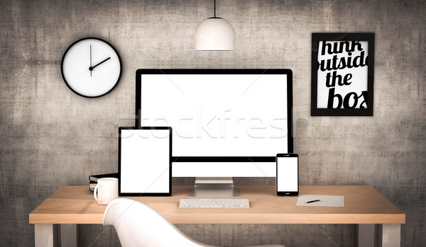 Bureau travail ensemble numérique généré Photo stock © georgejmclittle