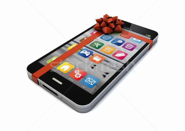 Cadeau smartphone ruban fond web Photo stock © georgejmclittle