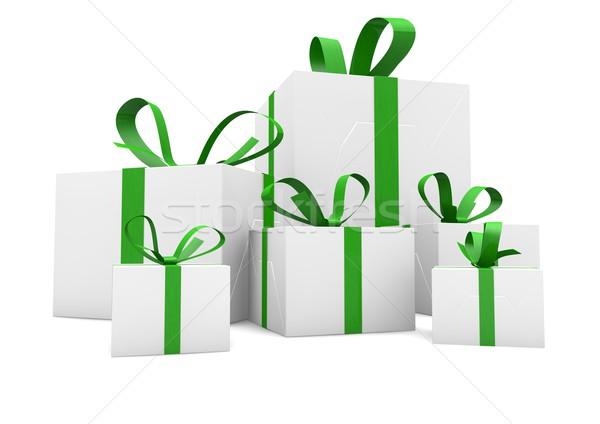 Cadeaux groupe isolé fête lumière Photo stock © georgejmclittle