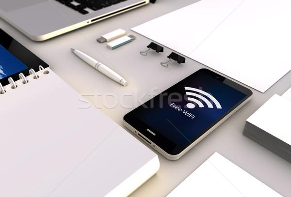 Wolna wifi smartphone biuro widoku Zdjęcia stock © georgejmclittle