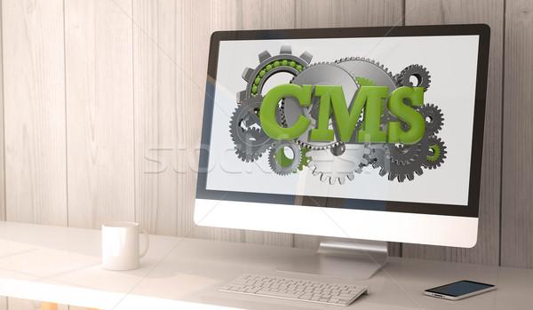 Stockfoto: Cms · digitale · geven · gegenereerde · werkruimte