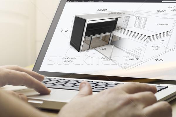 ホーム コンピューティング プロジェクト アーキテクチャ 男 ラップトップを使用して ストックフォト © georgejmclittle