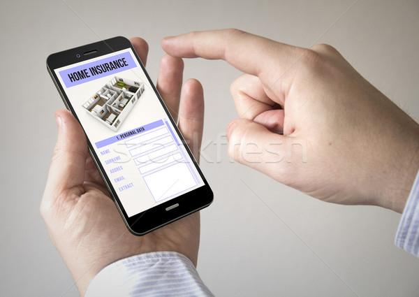 Dokunmatik ekran ev sigortası ekran adam Stok fotoğraf © georgejmclittle