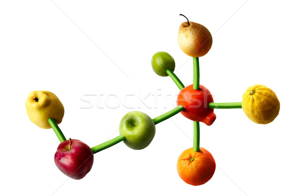 Vitamines fruits forme moléculaire structure régime alimentaire Photo stock © georgemuresan