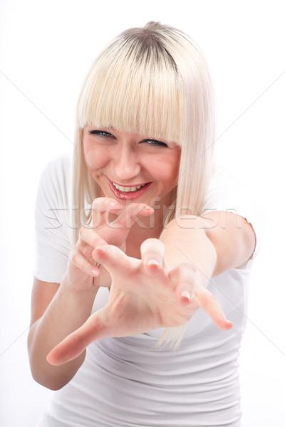 Fora retrato animado mulher jovem indicação tanto Foto stock © georgemuresan