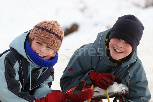 счастливым мальчики два зима играть семьи Сток-фото © georgemuresan