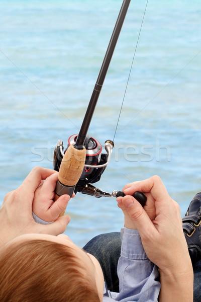 рыбалки день родителей преподавания ребенка воды Сток-фото © georgemuresan