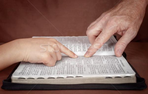 Stock foto: Studium · Wort · Gott · Hand · Mann · Hinweis