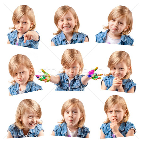 Stockfoto: Cute · meisje · portretten · mozaiek · verschillend · meisje