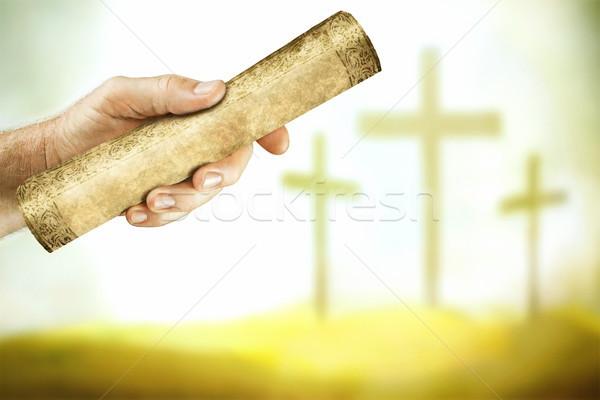 üzenet kereszt kéz égbolt szeretet fény Stock fotó © georgemuresan