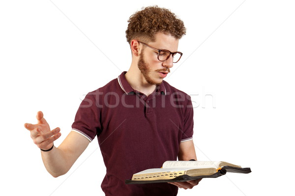 Jonge leraar prediking jonge man lezing bijbel Stockfoto © georgemuresan
