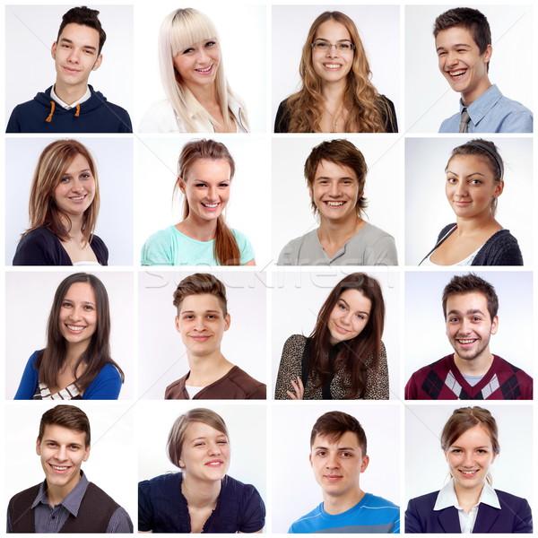 Sorridente faces retratos homens mulheres risonho Foto stock © georgemuresan