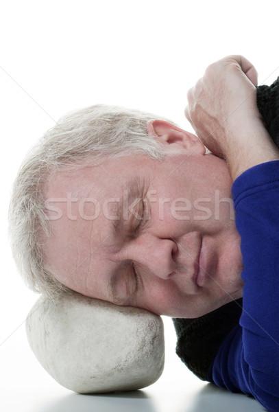 Profundo dormir homem pedra alguém Foto stock © georgemuresan