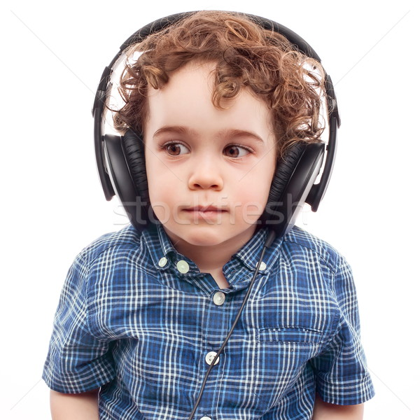 Aranyos fiú modern technológia kisgyerek óvatosan Stock fotó © georgemuresan