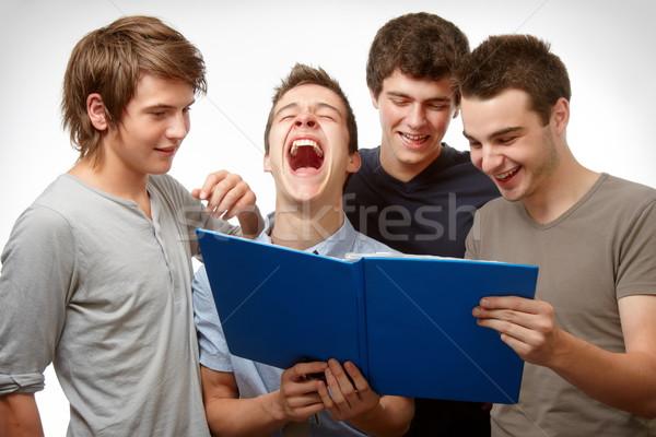 Witze vier Jugendlichen arbeiten zusammen Stock foto © georgemuresan