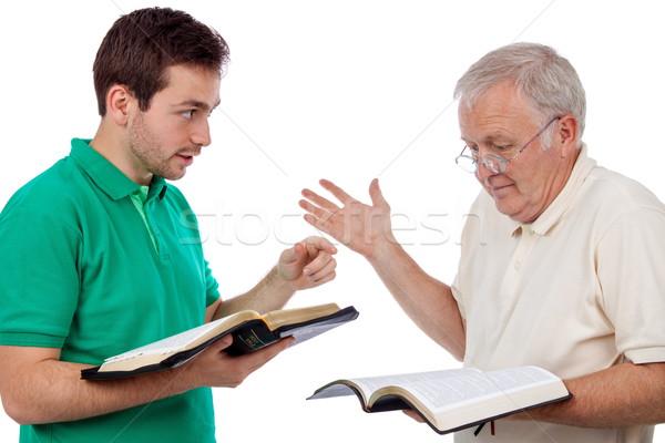 Bespreken bijbel jonge man woorden oude man Stockfoto © georgemuresan