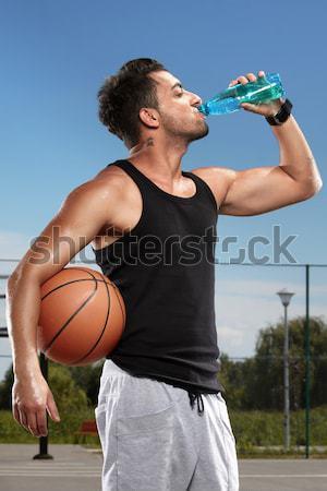 Sediento agua potable deportes campo Foto stock © georgemuresan