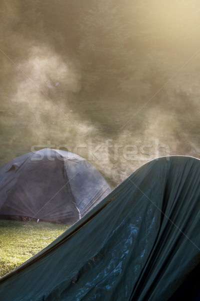 Tents dry in the morning sun Stock photo © georgemuresan