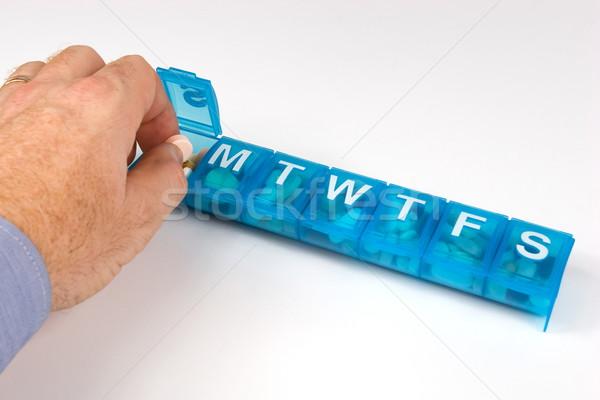 Organizador píldora mano cuerpo azul Foto stock © georgemuresan