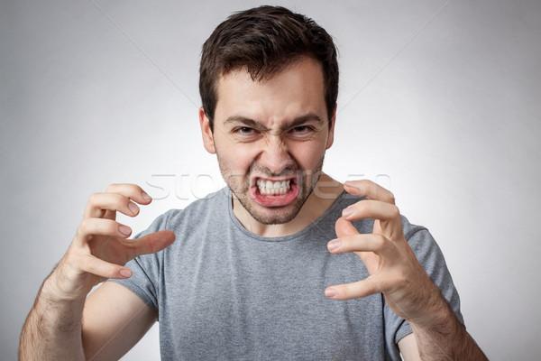 Listo lucha enojado joven dientes cara Foto stock © georgemuresan