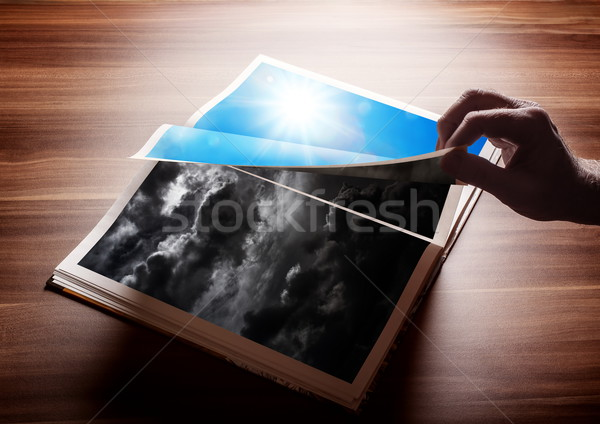 Fliping the page of my book Stock photo © georgemuresan
