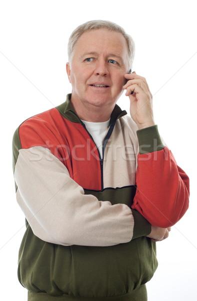 Starszy telefonu człowiek słuchać uśmiechnięty komórkowych Zdjęcia stock © georgemuresan
