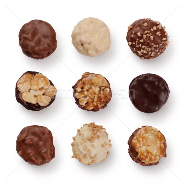 Stock fotó: Csokoládé · válogatás · szett · francia · izolált · fehér