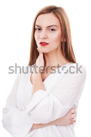 Mulher bonita sério mulher jovem posando branco Foto stock © georgemuresan