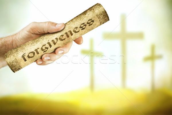 сообщение прощение крест стороны Иисус кровь Сток-фото © georgemuresan