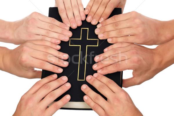 Biblia grupo de personas unidad oración Foto stock © georgemuresan