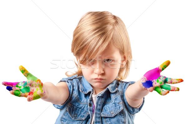 Cute pequeño artista infeliz nina manos Foto stock © georgemuresan