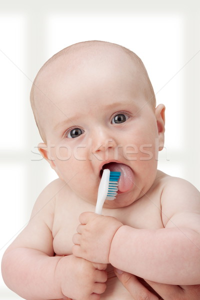 Aprendizagem escove bebê menino jogar novo Foto stock © georgemuresan