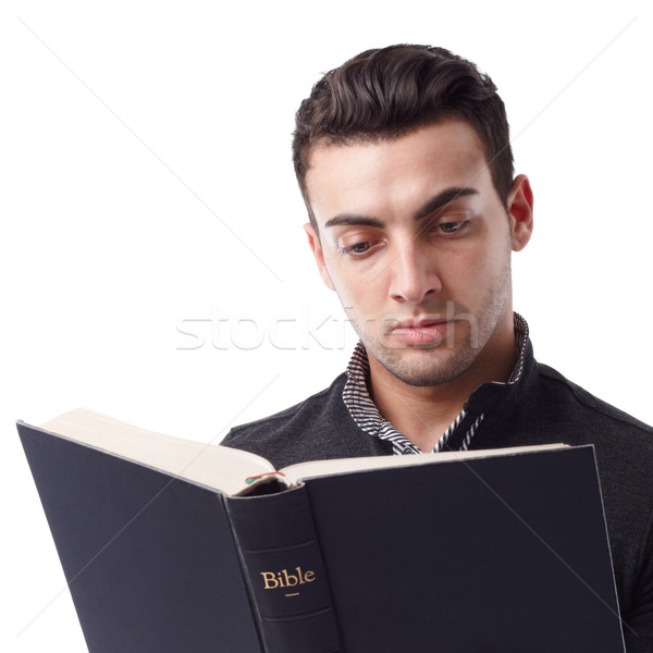 Leitura bíblia retrato moço livro olhos Foto stock © georgemuresan