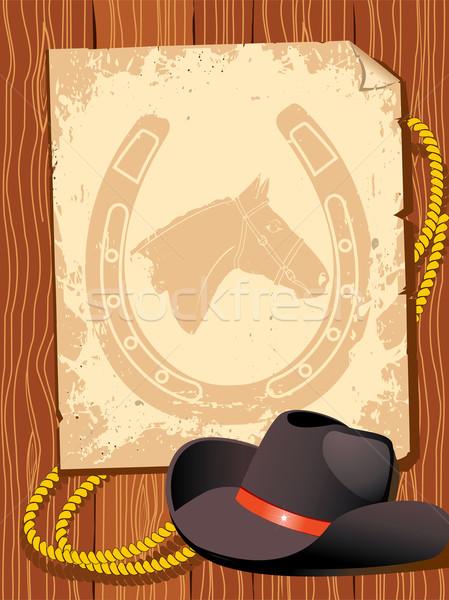 Kovboy elemanları Eski kağıt tabanca boyama güç Stok fotoğraf © GeraKTV
