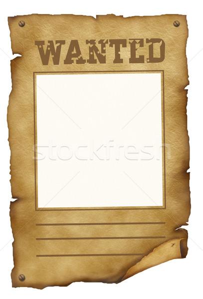 Stockfoto: Gezocht · poster · oud · papier · teken · ruimte · retro