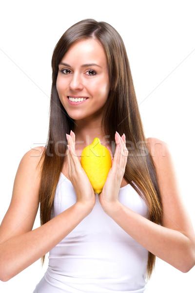 Güzel güzel kadın limon el kadın Stok fotoğraf © Geribody